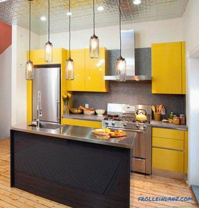 gabinetes de cocina de color amarillo brillante 70 Ideas De Diseo De Interiores De Cocina Pequea